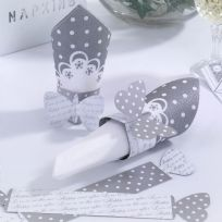 Chic Boutique White & Silver Napkin Rings (10)